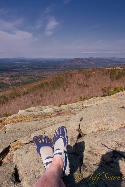 From Bald Knob, overlooking Castle In The Clouds in my Vibram Five Fingers
