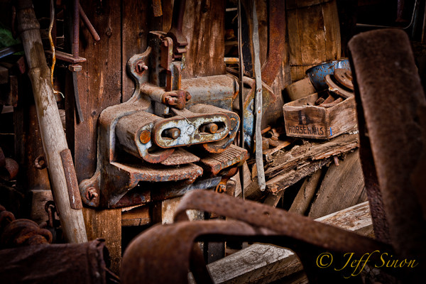 Farming tools and equipement found in an abandoned barn.