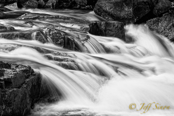 Rocky Gorge cascade in black and white.
