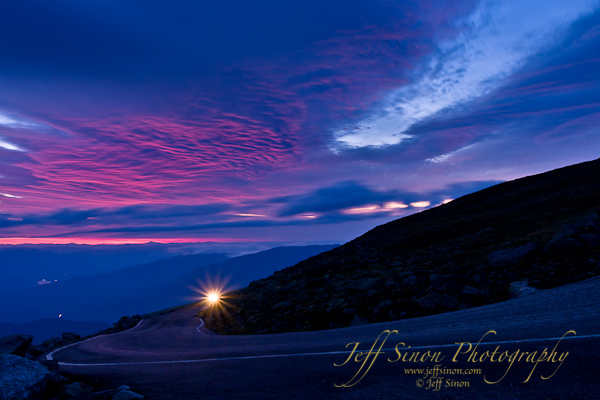 The first light of sunrise on the Auto Road, Mt Washington, NH