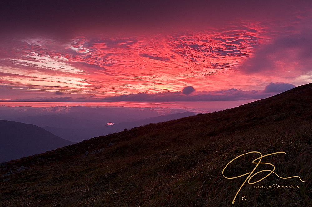 Fire In The Sky. Sunrise Atop Mt. Washington, NH.