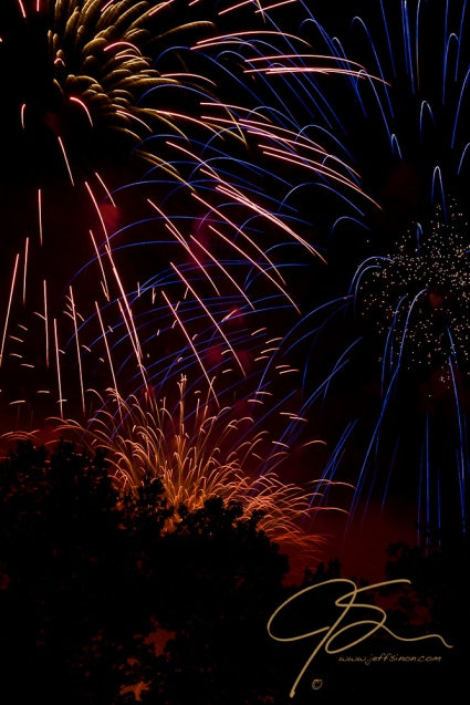 Fireworks at the Pittsfield, NH hot air balloon rally.