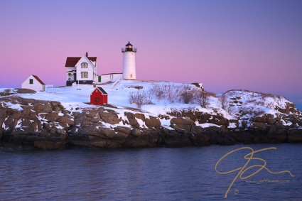 Nubble Light in the winter.
