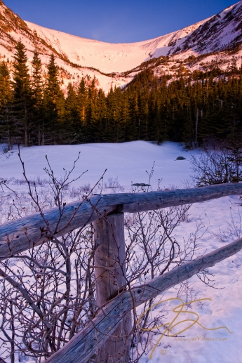 Tuckerman's Ravine at sunrise winter