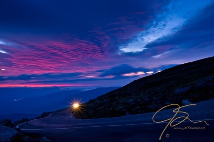 Pink and blue sunrise over the Mt. Washington auto road