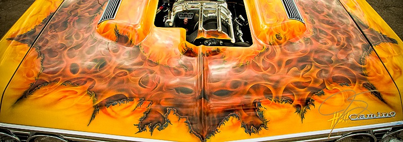 air brushed skull and flames on a Chevy El Camino drag car