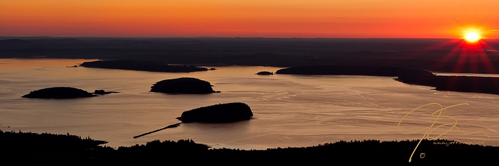 Sunrise Over The Porcupine Islands, Acadia National Park, Maine.
