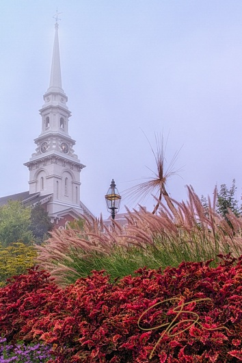 bright red plants and ornamental grasses in a downtown garden stand in the foreground, with the white steeple of Portsmouth, NH's North Church towering in the background.