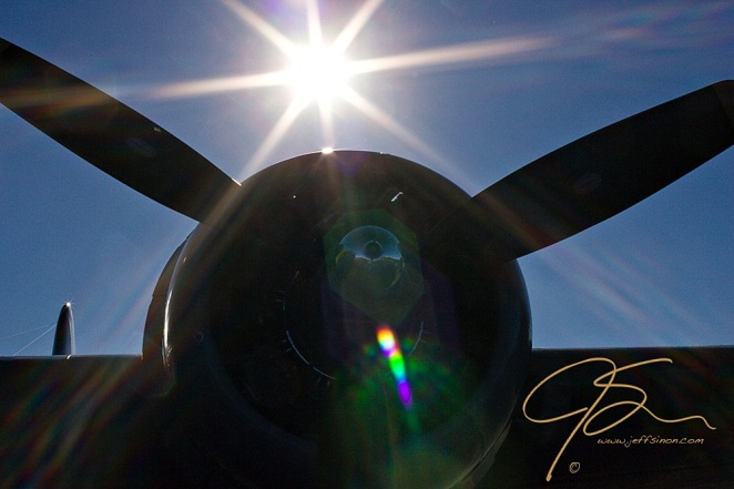 The silhouette of one of the engines on a B-17 Flying Fortress owned by the Collings Foundation.