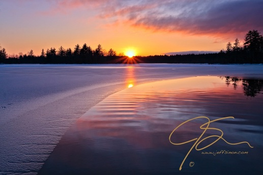 Winter Sunset, Bellamy Reservoir, Dover, NH