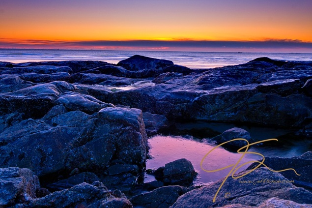 Frozen tide pool, Hampton Beach, NH.