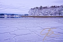 Intricate patterns in the ice flows on the Bellamy River.