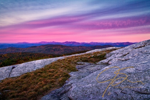Alpenglow on the distant mountains. From Foss Mountain, Eaton, NH.