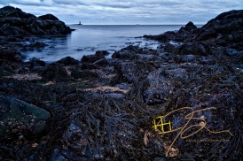 A small yellow section of lobster trap lies half covered in seaweed among the rocks on the shore at Great Island Common in New Castle, NH. A cloud filled sky and Whaleback Lighthouse are seen in the distance