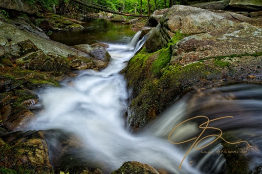 As the Mad River in Farmington, NH, cascades over a bright green moss covered granite ledge, it shoots down a natural flume carved into the rock over the centuries. As it reaches the bottom of the flume, it enters a small pool and from there disappears into the forest beyond.