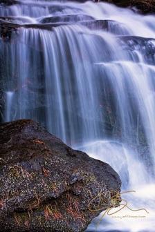Tucker Brook Falls with Boulder.