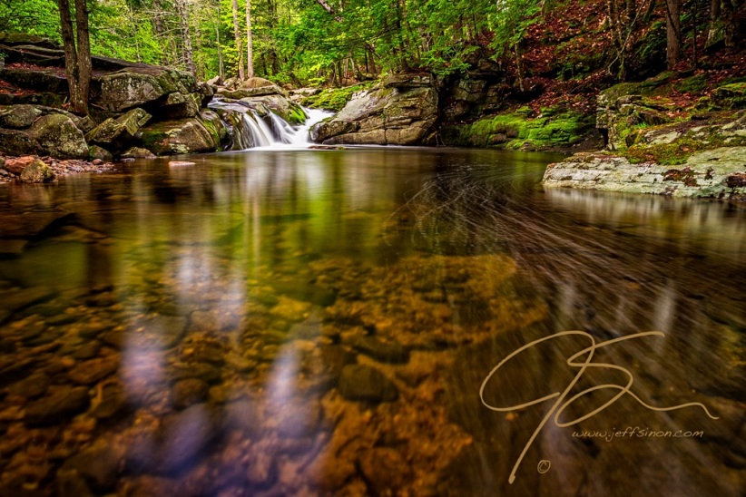 Long exposure image of an unnamed waterfall on the Mad River, Farmington, NH