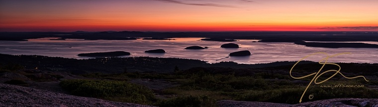 Panoramic image of sunrise over Frenchman's Bay. Acadia National Park, Maine.
