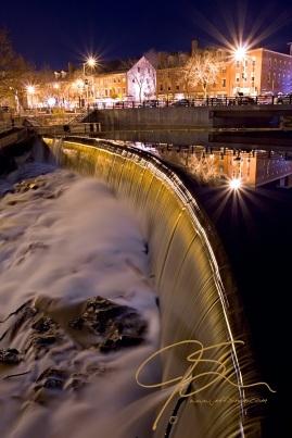 Cocheco River Falls, Dover, NH At Night-Portrait
