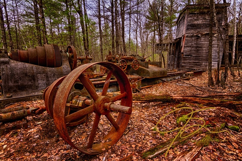 Granite Lathe. Abandoned Redstone Quarry, Conway, NH