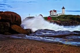 Crashing Surf, Nubble Light, Maine