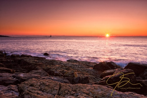 Sunrise Over Calm Seas. New Castle, NH.