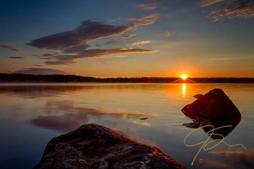 Sunrise over Baxter Lake in Rochester, New Hampshire
