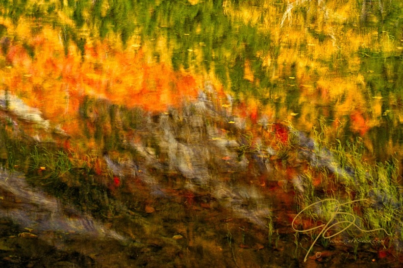 Abstract Autumn Reflections. Crawford Notch, NH