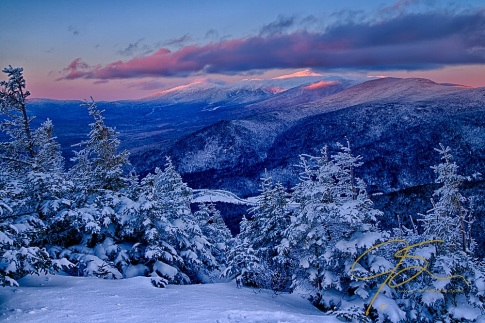Winter wonderland. The snow covered mountains of New Hampshire.