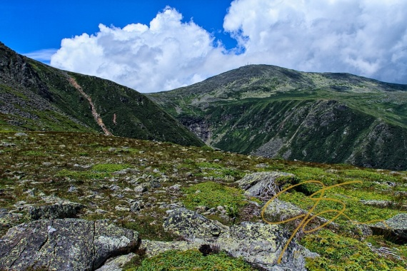 Above tree line, looking over Tuckerman Ravine towards the summit of Mt. Washington, NH