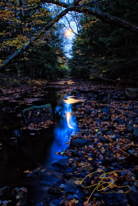 Stream Under Autumn Full Moon