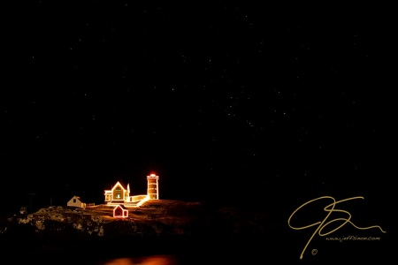 Holiday Lights At Nubble Light.