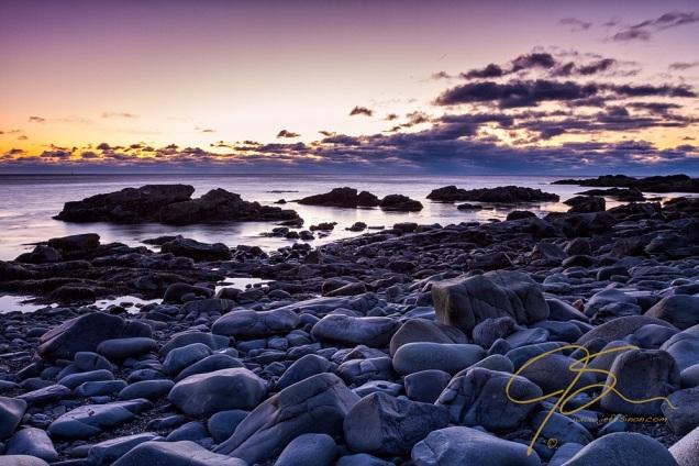 Smooth Grey Boulders At Sunrise, Marginal Way.