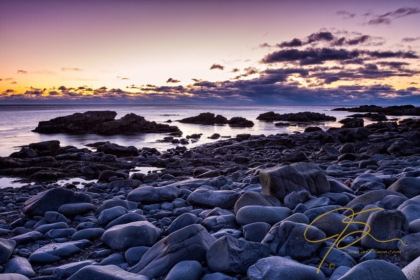 Smooth Grey Boulders At Sunrise, Marginal Way.