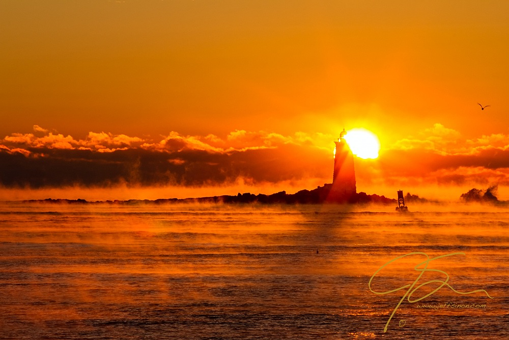 Winter Sunrise Whaleback Light.