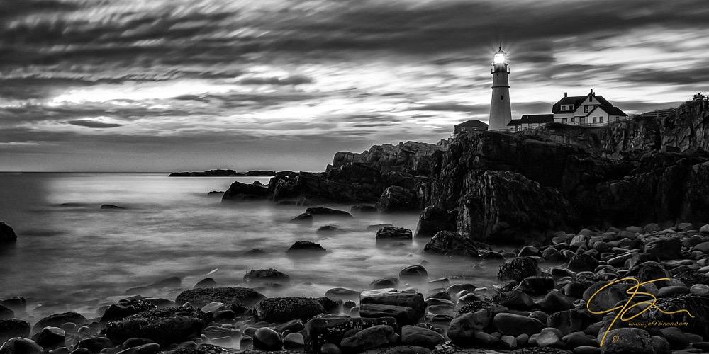 Scenic Portland Head Light captured in Black and White