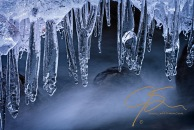 Water In Contrast, Icicles Over Moving Water, Shannon Brook, Mou