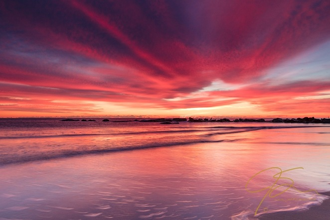 Fiery sunrise over Hampton Beach, NH