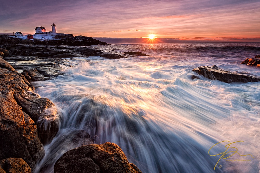 Sunrise and Rough Seas at Nubble Light