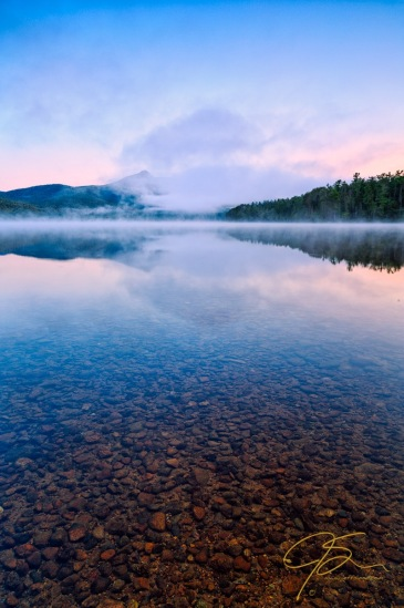Mist and Mirrors. Even when with its summit mostly shrouded in morning mist the profile of Mt Chocorua is unmistakable. Arguably the most recognizable mountain in New Hampshire, Chocorua is a favorite stop on my way north.