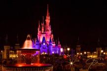 Cinderella's Castle at night in Disney's Magic Kingdom.