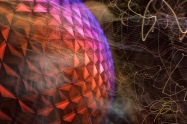 Spaceship Earth at Disney's Epcot, captured with intentional camera motion during exposure.