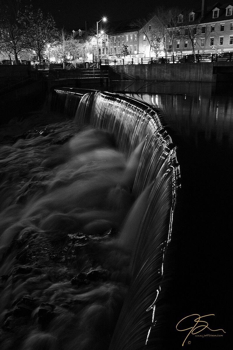 Cocheco river falls in downtown Dover, New Hampshire