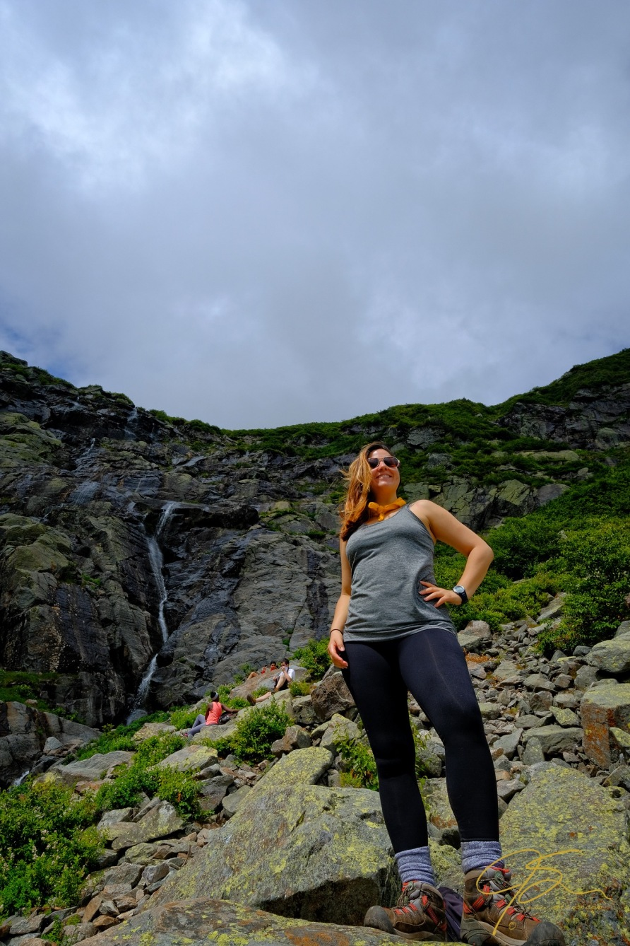 female hiker in tuckerman ravine