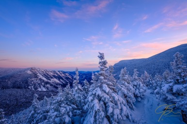 snowy sunset on mount Avalon.