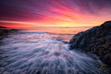 dramatic sunrise over the southern Maine seacoast.