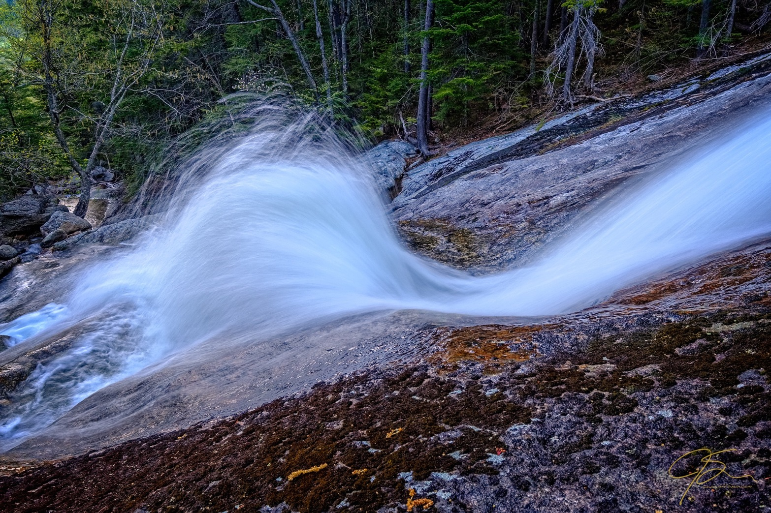 large fan of water splashing up at Thompson Falls