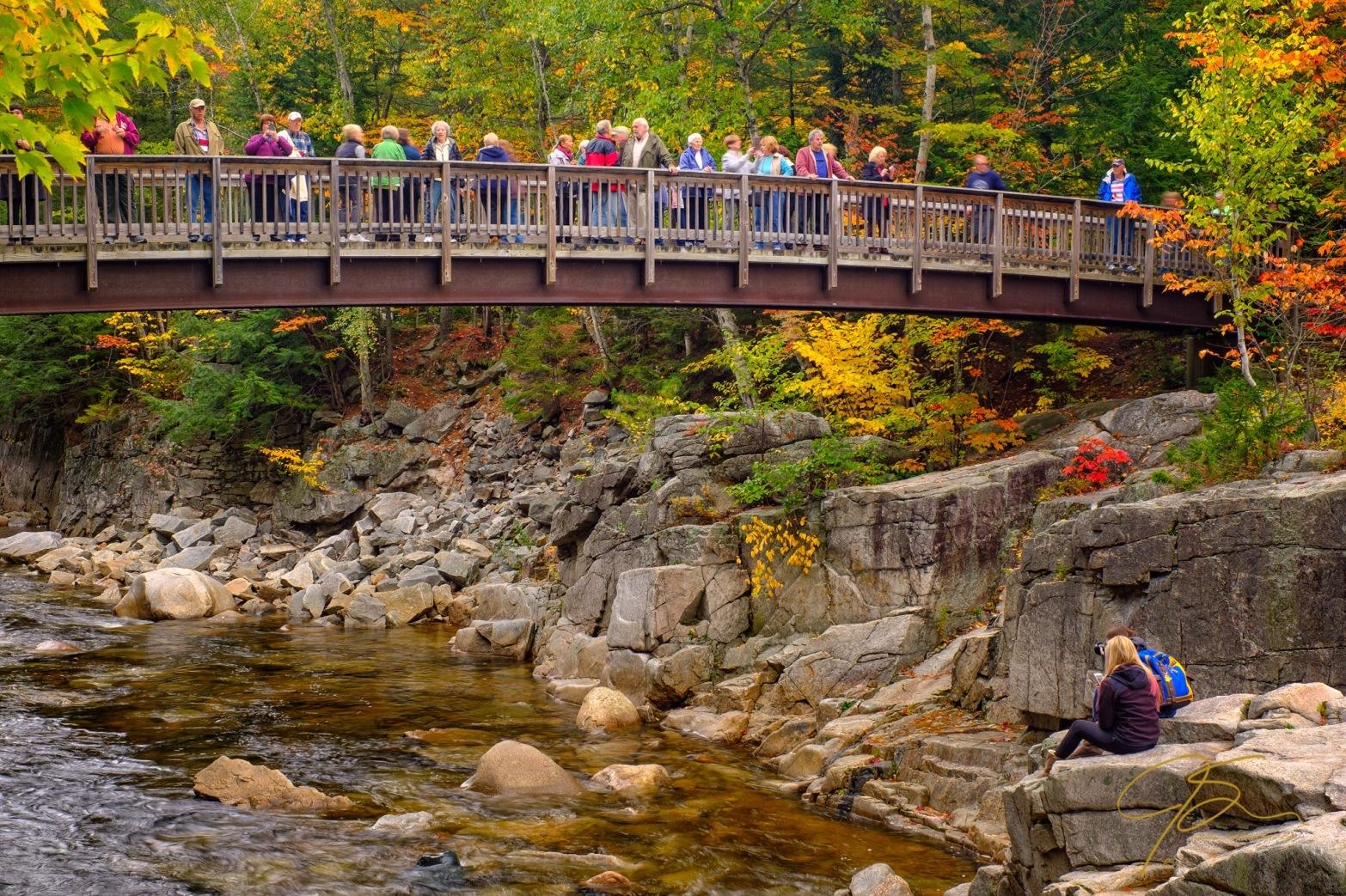 leaf peepers on the bridge at rocky gorge 8270-Edit