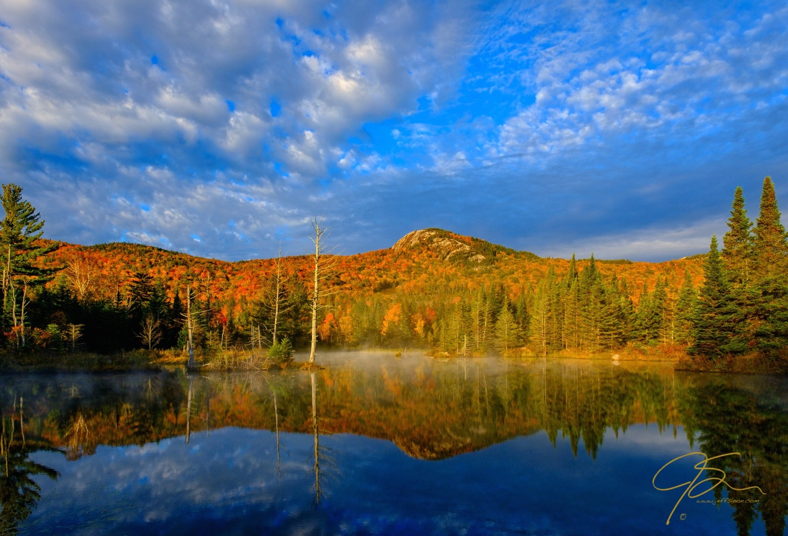 Middle Sugarloaf Mountain From Wildlife Pond, Autumn.